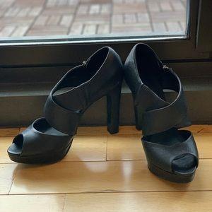 Jcrew black wedged high heel leather sandals